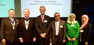 Right to left: Wahida Abdul Rahman, Nur Herzazzilla Ghazali, Vasuki Shastry, Dr Mohamed Razeen Sally, The Rt Hon The Lord Mayor, Aldermen Alan Yarrow and David Stringer-Lamarre