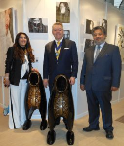 Left to right, Artist Mrs Al-Shibani, David Stringer-Lamarre & Mr Al-Shibani
