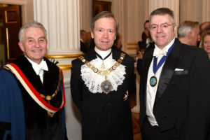 Left to right: The Master Carman, Mark Griffiths, The Rt Hon the Lord Mayor & David Stringer-Lamarre