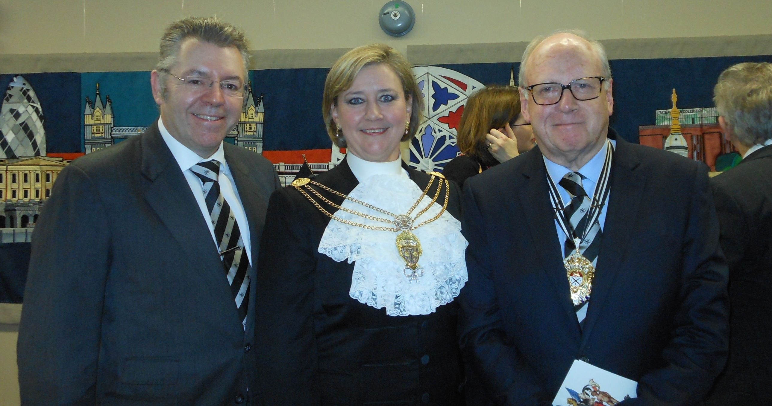 Right to left: The Master Glazier, Duncan Gee, The Sheriff of London Dr Christine Rigden and David Stringer-Lamarre