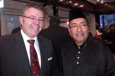 His Excellency Dato Ahmad Rasidi Hazizi, the High Commissioner of Malaysia & David Stringer-Lamarre during the reception