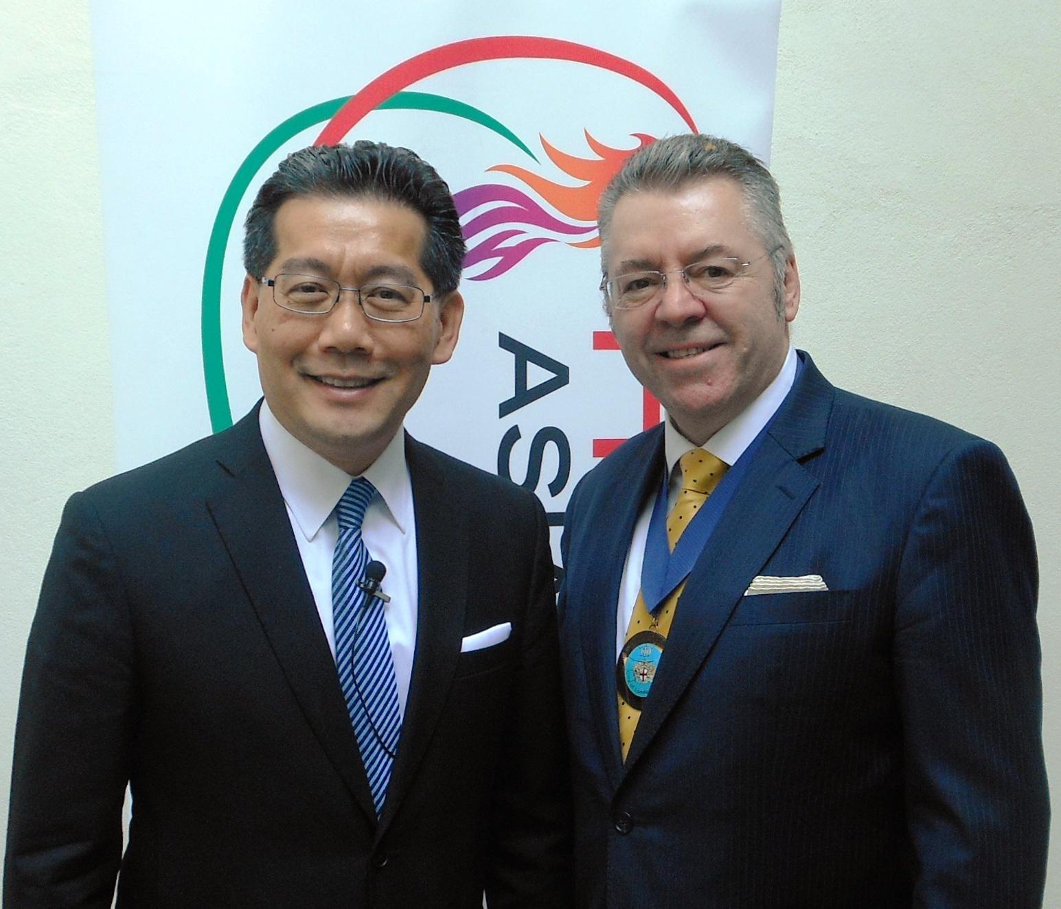 Mr Gregory So Kam-leung and David Stringer-Lamarre