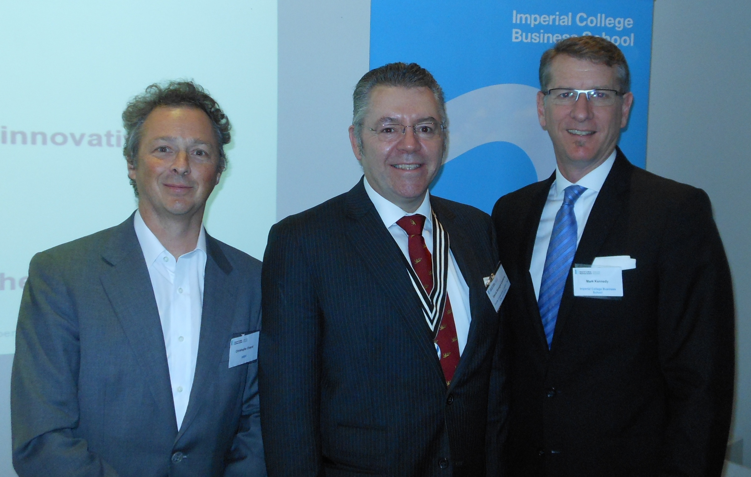 Right to left: Professor Kennedy, David Stringer-Lamarre and Christophe Chazot.