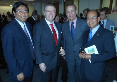 Left to right: HE Ambassador of Indonesia, Teuku Mohammad Hamzah Thayeb, David Stringer-Lamarre, HE Ambassador of Chile, Rolando Drago and HE Ambassador of Laos, Sayakane Sisouvong