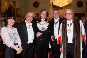 Left to right: Lady Leveson, Sir Leveson, The Rt Hon the Lord Mayor, David Stringer-Lamarre & The Master