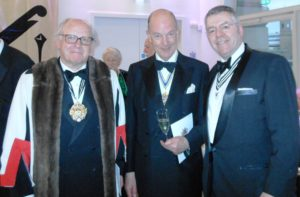 Left to right: the Master Glazier, Duncan Gee, the Master Apothecary Dr Roy Palmer and David Stringer-Lamarre