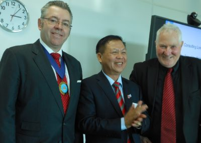Right to left: Barry Tomalin, Loughborough University, Mr Lee, Leader of the Vietnamese Delegation and David Stringer-Lamarre