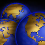 14 Aug 2002 --- Three Globes Showing Continents --- Image by © Royalty-Free/Corbis